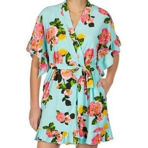 Betsey Johnson Floral Terry Short Robe